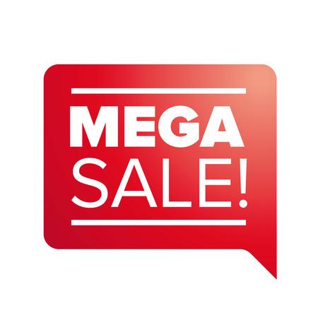 mega: Red Mega Sale  label - speech bubble Illustration