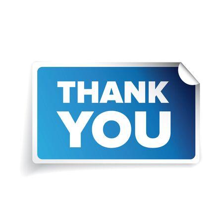 Vector Thank you sticker blue Ilustração