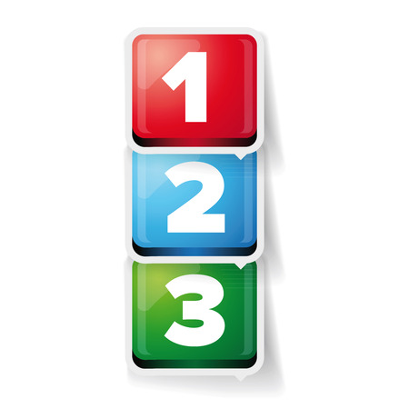 bar one: One two three - 3D vector progress bar for three steps Illustration