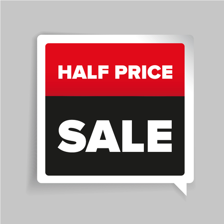half price: Half price sale sticker vector Illustration