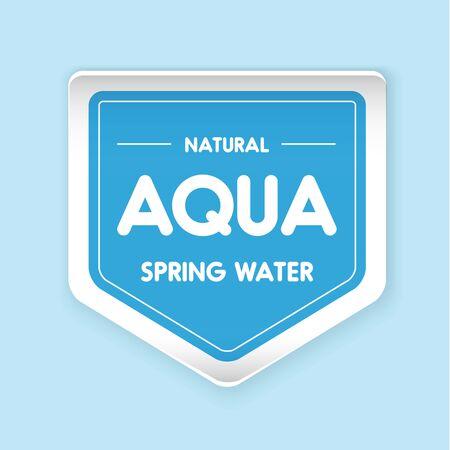 Aqua water label vector