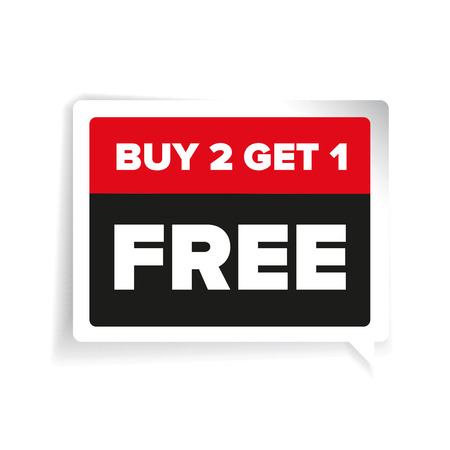 get one: Buy two get one free, promotional sale sticker