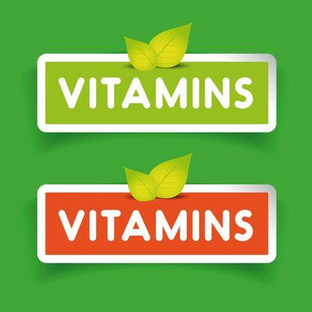 vitamins: Vitamins label set