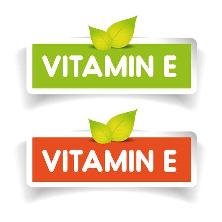 La vitamine E vecteur étiquette ensemble Vecteurs