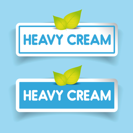 heavy: Heavy cream label vector Illustration