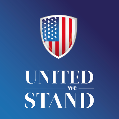 world trade center: USA flag - United we stand poster or banner