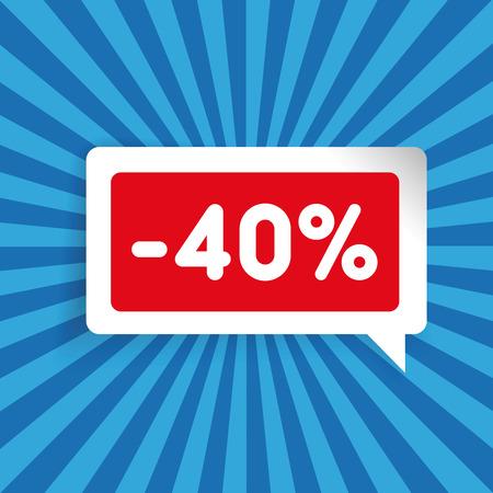 Sale label speech bubble fourty percent off