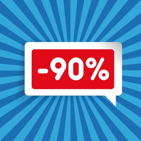 ninety: Sale label speech bubble ninety percent off