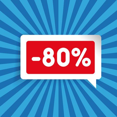 eighty: Sale label speech bubble eighty percent off Illustration