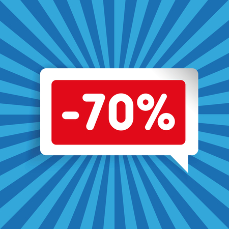 seventy: Sale label speech bubble seventy percent off Illustration