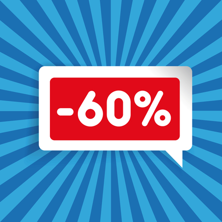 sixty: Sale label speech bubble sixty percent off