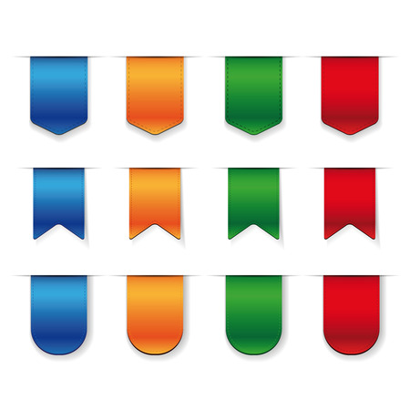 orange background: Vector Ribbon set - red, blue, green, orange Illustration