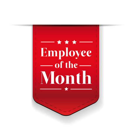badge with ribbon: Employee of the Month award ribbon Illustration