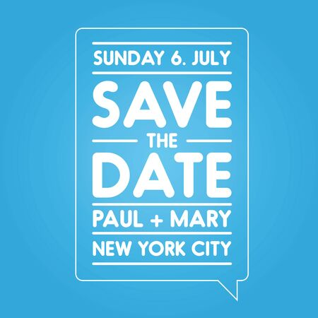tearaway: Typographic blue wedding announcement - Save the date Illustration