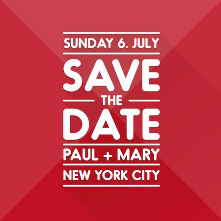 tearaway: Typographic red wedding announcement - Save the date