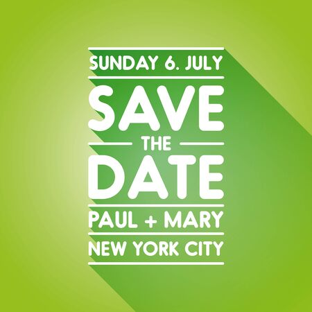 tearaway: Typographic green wedding announcement - Save the date