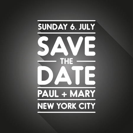 tearaway: Typographic black wedding announcement - Save the date