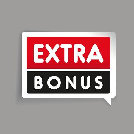 extra: Extra bonus red label vector Illustration