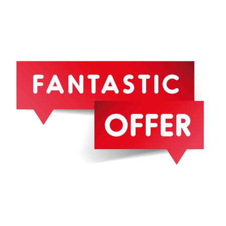 fantastic: Fantastic offer label red vector