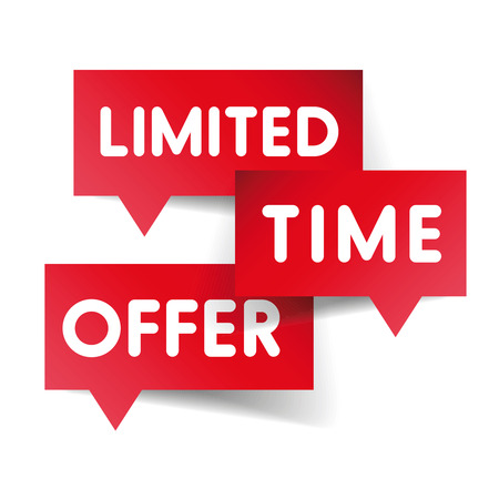limited time: Limited time offer label red vector Illustration