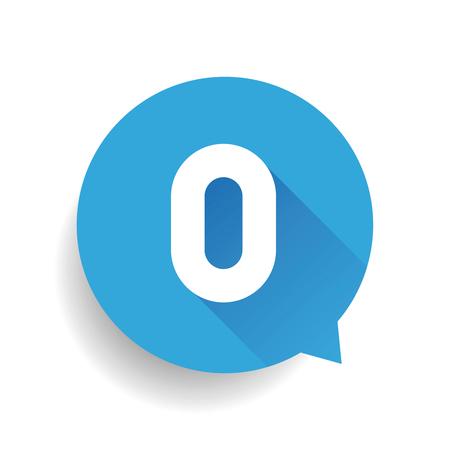 number zero: Number zero 0 speech bubble blue Illustration