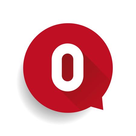 Zahl Null 0 Sprechblase rot Vektorgrafik