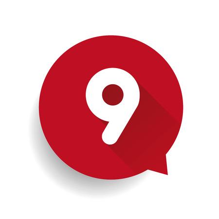 numero nueve: El n�mero nueve 9 con forma de burbuja roja