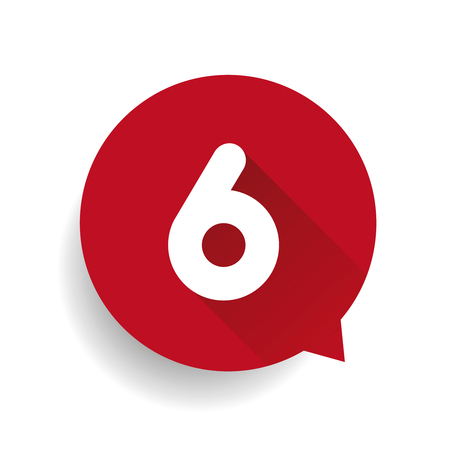 number six: Number six 6 speech bubble red