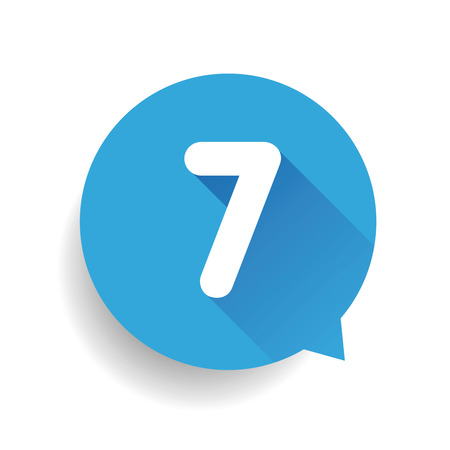 Number seven 7 speech bubble blue