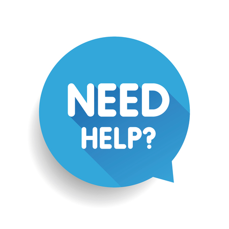need help: Need help? (question icon) Speech bubble vector blue