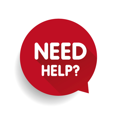 need help: Need help? (question icon) Speech bubble vector red Illustration