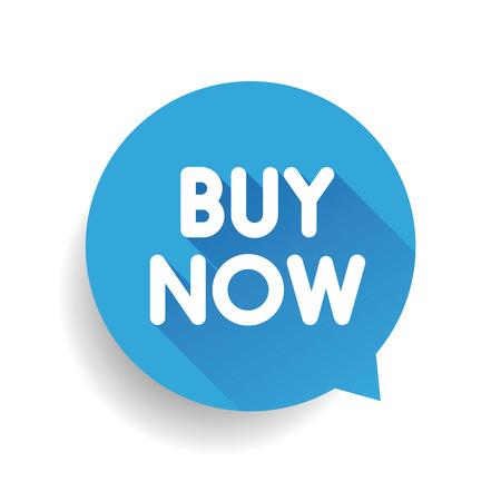 acquire: Buy now label vector speech bubble