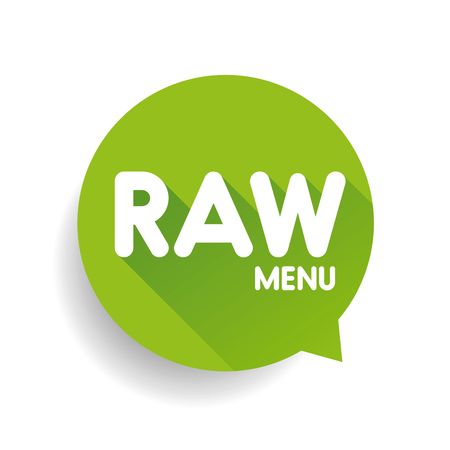 raw food: Raw Food Menu label vector green Illustration