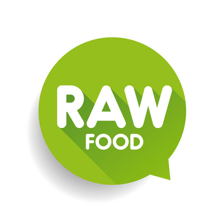 raw food: Raw Food label vector green