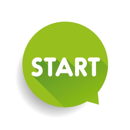 start button: Start button speech bubble green Illustration