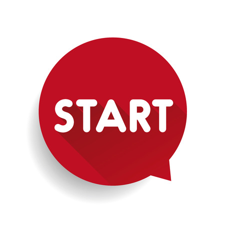 start button: Start button speech bubble red Illustration