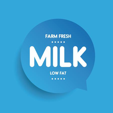 low fat: Farm fresh Milk - Low fat label vector Illustration