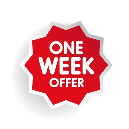 week: One week offer label red Illustration