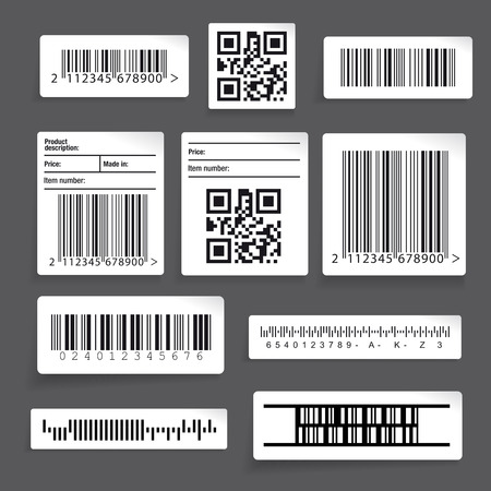 number 13: Barcode sticker set vector