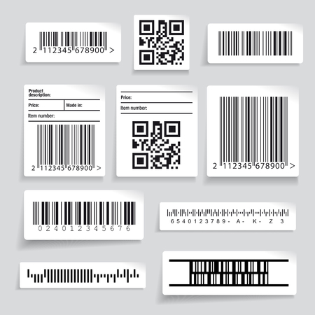 number code: Barcode sticker set vector