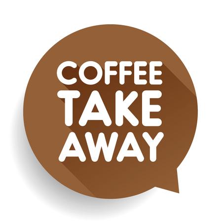 take away: Coffee take away sticker vector Illustration