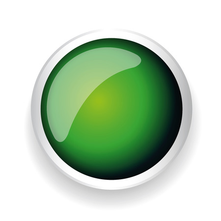 shiny button: Green shiny button with metallic elements