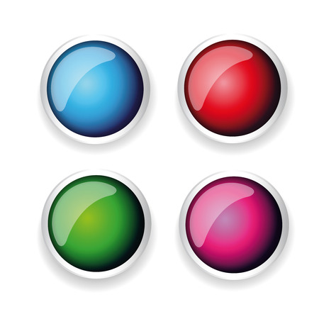 shiny button: Colorful shiny button set with metallic elements Illustration