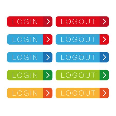logout: Login Logout button vector Illustration