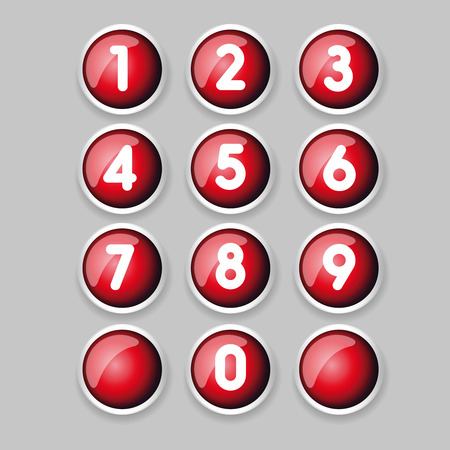 three dimensions: Red button number set vector Illustration