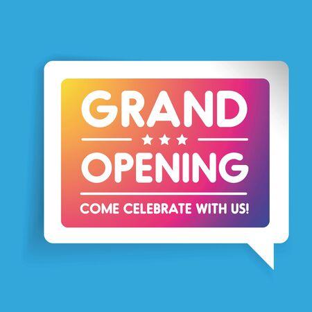 Grand Opening invitation label lettering Vector Illustration