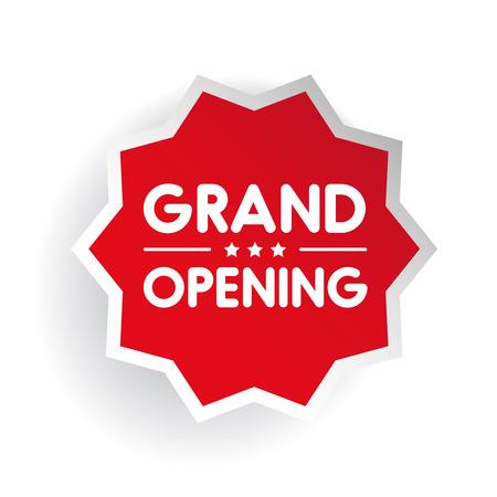 grand sale icon: Grand Opening invitation label lettering