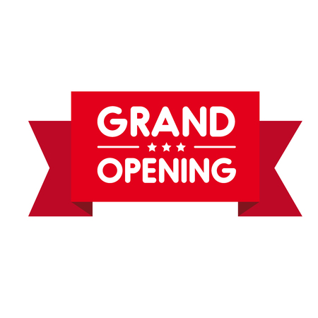 Grand Opening invitation label lettering