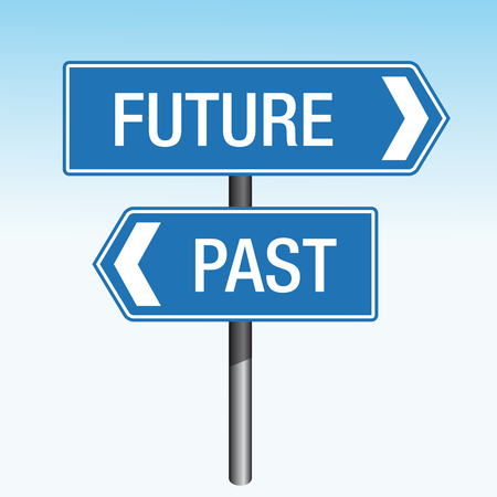 past: Future Past crossroads sign arrows