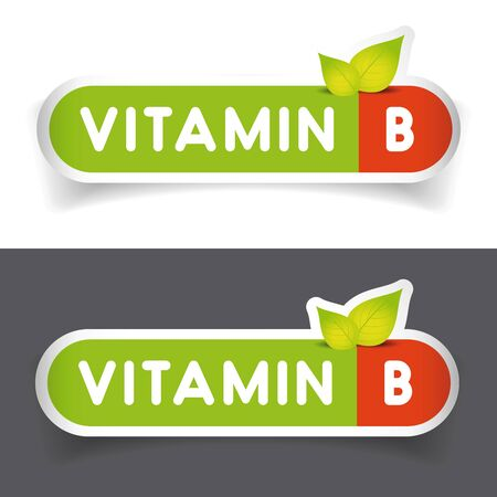 b ball: Vitamin B label sign vector set